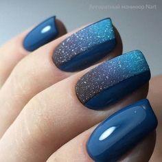 idee unghie glitter blu nail art per il 2019 - nails. Short Nail Designs, Nail Art Designs, Hair And Nails, My Nails, Shellac Nails, Nail Deco, Gel Manicure Designs, Nails Design, Manicure Ideas