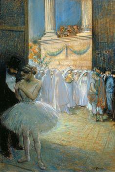 Jean-Louis Forain  France; 1852-1931  Les Coulisses de l'Opéra pendant la représentation d'Aida, c. 1898  pastel on paper; 45 x 31 inches