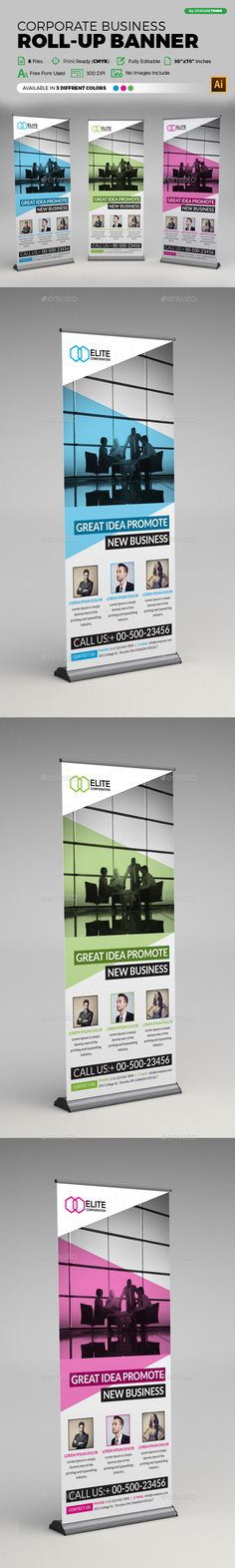 Corporate Business Roll-up Banner Template Vector EPS, AI. Download here…