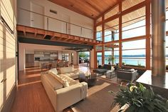High Ceilings Green House Overlooking the Chesapeake Bay Designed by Gardner Mohr Architects