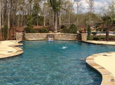Flagstone coping with colored concrete