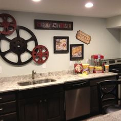 Theater room snack bar | home ideas.  Sam you need to do this in your basement.
