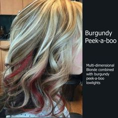 Trendy hair color highlights and lowlights burgundy curls Hair Color Highlights, Blonde Color, Red Peekaboo Highlights, Peekaboo Color, Red Blonde, Peak A Boo Hair, Style Sienna Miller, Locks, Dimensional Blonde