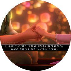 """I love the way Eugene holds Rapunzel's hands during the lantern scene."""