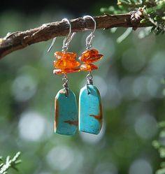 Turquoise Amber Earrings  Southwest Kingman by LaughingDogStudio, $33.00