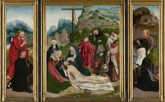 Jan Jansz Mostaert | Triptych with the Lamentation, Jan Jansz Mostaert, c. 1515 - c. 1520 | Drieluik met de bewening. Op het middenpaneel de bewening van Christus in een landschap. Het lichaam van Christus ligt tegen de knie van Maria. Om haar heen de heilige vrouwen, Johannes, Jozef en een monnik. De bewening is een vrije kopie naar het schilderij van Geertgen tot Sint Jans in Wenen. Op de binnenzijde van het linker zijpaneel een knielende stichter met de heilige Petrus. Op de binnenzijde…
