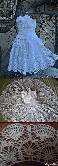 Мастер-класс -великолепное детское платье *Белоснежный ажур* связанное крючком.