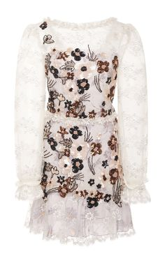 Hand Beaded Daisy Lace And Chiffon Dress by RODARTE Now Available on Moda Operandi