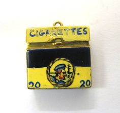 English Charm c1970 9ct Yellow Gold Players Cigarette Box