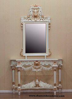Fabulous Baroque Louis XVI Style Hand Carved Mahogany French Reproduction Rococo Console Table