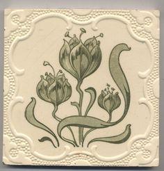 Super rare Utzschneider  Blumen  Jugendstil  Fliese  art  nouveau  tile