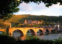 View of Schloss Heidelberg with the old bridge in the foreground.