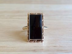 Onyx Ring  Vintage 10kt Yellow Gold Border by ErieCanalCollectors