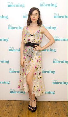 Lily Collins in Altuzarra outside the ITV studios in London. #bestdressed