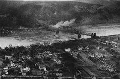 Aerial view of the Remagen Ludendorff Bridge on 15 March 1945, it was the only bridge across the Rhine river captured intact by the allies.