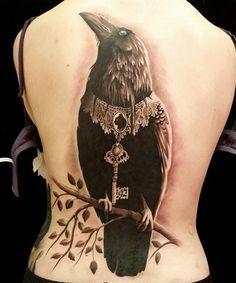 Amazing Raven Tattoo on Full Back for Women
