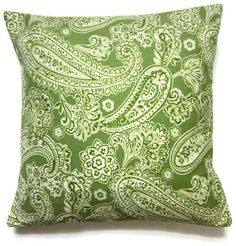 Two Apple Green White Paisley Pillow Covers by LynnesThisandThat, $30.00