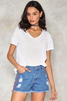 124df1b933a7d3 Side With Me Embroidered Denim Shorts   Shop Clothes at Nasty Gal! Nasty Gal ,
