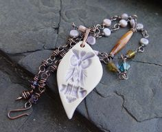 Handmade Porcelain Owl Pendant, Glass Beads and Crystals on Handmade Copper Chain Necklace on Etsy, $47.50
