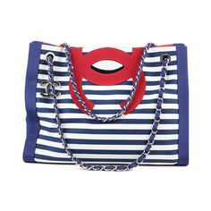 Pre-Owned Chanel Cruise 2010 Stripes Red White and Blue Canvas... (18.419.550 IDR) ❤ liked on Polyvore featuring bags, handbags, tote bags, blue, handbags totes, striped tote, red tote, tote handbags and canvas tote bag
