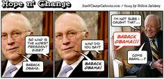 obama, obama jokes, political, humor, cartoon, conservative, hope n' change, hope and change, stilton jarlsberg, dick cheney, worst president, take America down, carter
