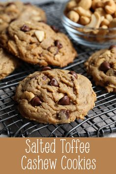 Salted Toffee Cashew Cookies are thick, sweet & salty cookies, studded with toffee bits, salted cashews and made with browned butter! An easy cookie recipe! Toffee Cookie Recipe, Easy Cookie Recipes, Toffee Cookies, Xmas Cookies, Brownie Recipes, Great Desserts, Dessert Recipes, Bar Recipes, Dessert Ideas