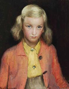 Harold Charles Francis Harvey (British painter) 1874 - 1941 The Yellow Blouse, 1939 oil on canvas  20 x 16 in.