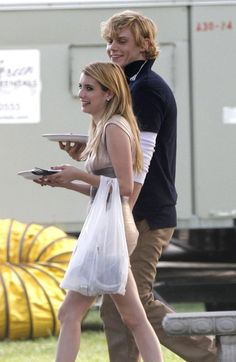 Evan Peters and Emma Roberts on the set of  'American Horror Story in New Orleans, Louisiana on July 26, 2013