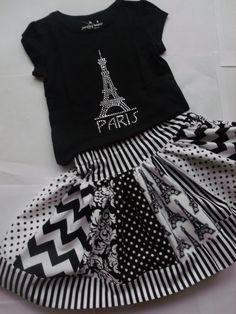 Girls Paris Eiffel Tower Chevron Skirt Set Paris Twirly Skirt Paris Rhinestone Shirt Girls Applique Paris Top Black Chevron Skirt.