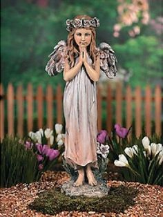 """Large Realistic Praying Angel Garden Statue with Rose Halo 19-3/4""""High ~NEW~"""