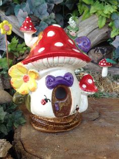 Red MUSHROOM Fairy House Ceramic amanita por EnchantdMushroomLand http://www.pinterest.com/tinaliddie/fairygnome-houses/