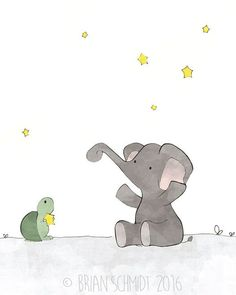 Elephant and Moon Nursery Art Prints Stars by LowerWoodlandStudio