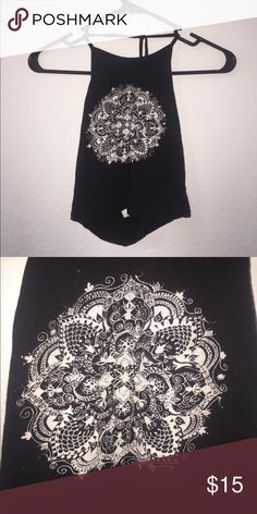Mandala Halter Crop Top LA Hearts Crop Top, tie Halter with open back, worn only once! Size small PacSun Tops Crop Tops