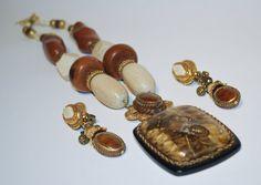 Vintage Avant Garde Necklace Earring set Signed Maya by StellaVi, $45.00