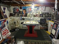 This is one of my rooms for bubble, including trophies, banners and other bubble hockey related stuff. Customized players and boards for the Pittsburgh Penguins also.