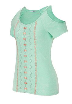 embroidered front cold shoulder tee - maurices.com