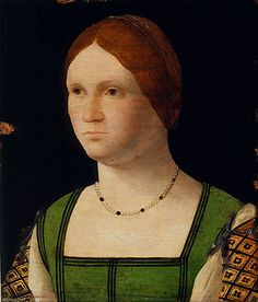 Francesco Pietro Bissolo (attributed to) (Italy, 1475 - 1554)   Portrait of a Young Woman, circa 1500  Painting, Oil on panel, 9 1/2 x 8 in. (24.13 x 20.32 cm)