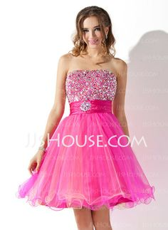 Homecoming Dresses - $137.99 - A-Line/Princess Strapless Knee-Length Satin  Tulle Homecoming Dresses With Ruffle  Beading (022010868) http://jjshouse.com/A-line-Princess-Strapless-Knee-length-Satin-Tulle-Homecoming-Dresses-With-Ruffle-Beading-022010868-g10868