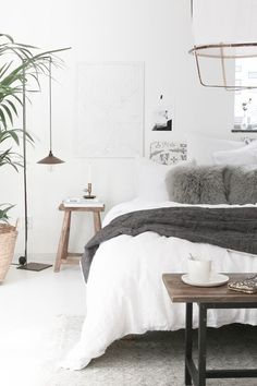 bedroom | white, grey | wood