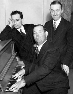 Buster Keaton, Oliver Hardy, Stan Laurel.  Hardy's most famous catchphrase is often misquoted, Well, here's  another nice mess you've gotten us into. The incorrect & another fine  mess another from the name of one of their short films, made in 1930. Keaton on Laurel's funeral.  Chaplin was the funniest, I wasn't the funniest, this man was the funniest. Laurel had written his own epitaph.  If anyone at my funeral has a long face, I'll never speak to him again.