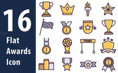 Flat award icons by Iconika on @creativemarket