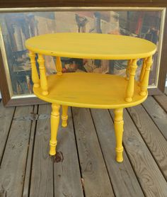 Chrome Yellow Retro Accent Table Vintage Poppy by poppycottage, $110.00