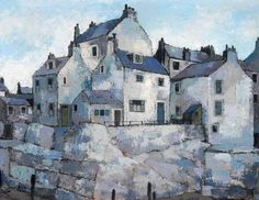 Blue Staithes, North Yorkshire by Dennis Watling Date painted: 1960 Oil on board, 71 x 94 cm Collection: Middlesbrough Cou. Watercolor Landscape, Abstract Landscape, Landscape Paintings, Watercolor Paintings, Watercolours, North Yorkshire, Building Art, Travel Illustration, Urban Sketchers