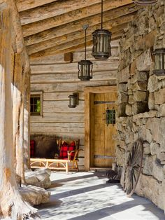 Villa: Rustic Entry Wooden Door Stone Wall Traditional Montana Ranch, Village Home Design, Outdoor Garden ~ GOZETTA