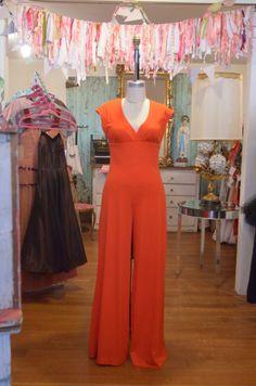 1970s orange jumpsuit 70s wide leg pant suit size medium Vintage disco palazzo pants Lord and Taylor