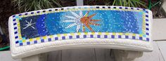 Mosaic Bench Concrete Garden Bench, Garden Benches, Mosaic Garden, Mosaic Art, Auction Ideas, Memorial Jewelry, Chair Bench, School Projects, Stools
