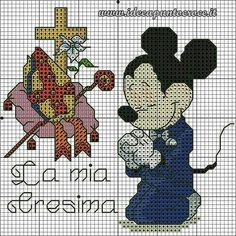 Mickey My Confirmation 2 Of 3 Mickey Mouse Crafts, Mickey Y Minnie, Minnie Mouse, Baby Cross Stitch Patterns, Cross Stitch Baby, Stitch Cartoon, Religious Cross, Pooh Bear, Disney Cartoons