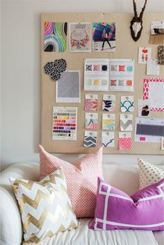 couch, mixed prints & patterns, inspiration board