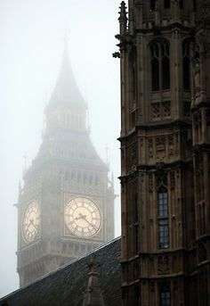 Big Ben in the fog.... this picture is just  so british!