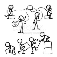 Stick Figure People Business Working Together royalty-free stock vector art